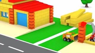 和迷你卡车学习 修房子学颜色和形状 精华版