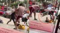 三男子殴打外卖小哥 暴踩头部抡金属牌猛砸 警方:已抓获