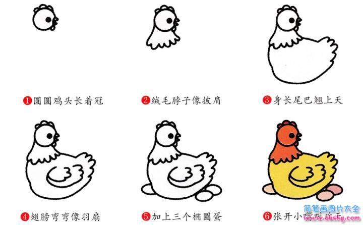 表情 母鸡简笔画画法 怎么画母鸡的简笔画 简笔画动物 儿童简笔画图片