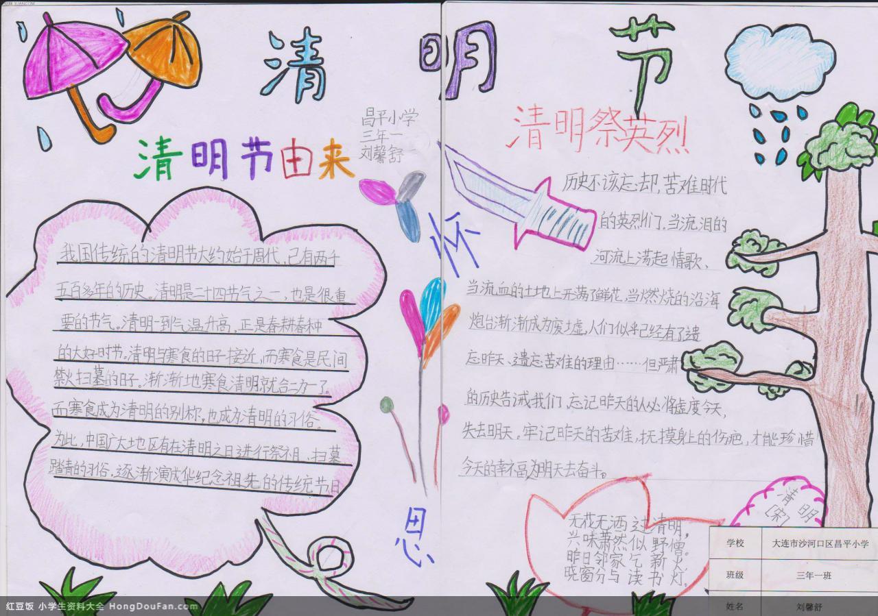 表情 清明节由来以及祭奠英烈三年级手抄报 红豆饭小学生资料大全 表情