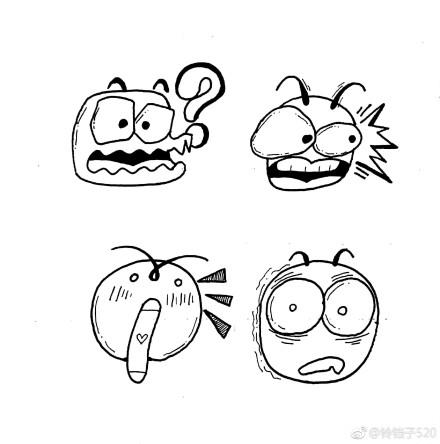 表情 手帐教程 一组魔性表情包简笔画,可以用作手帐哦,作者 铃铛子520  表情