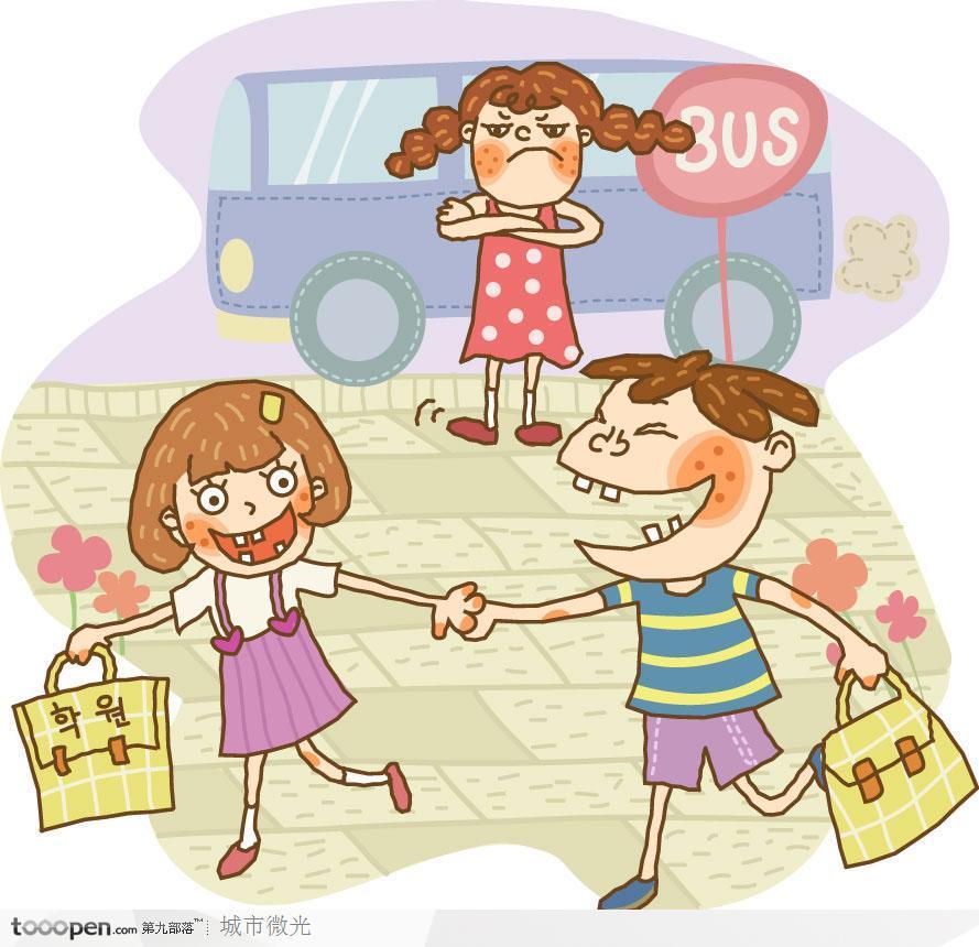 表情 简笔画儿童插画 手牵手逛街的男孩和女孩 素材公社tooopen.com 表情