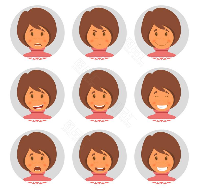 表情 短发女子表情头像免费下载 图品汇www.88tph.com 表情