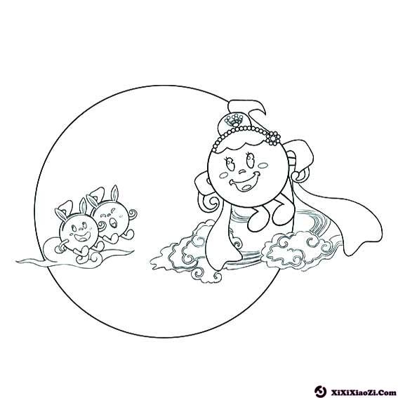 表情 中秋嫦娥玉兔卡通简笔画素材 2 格格 表情