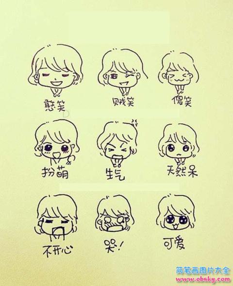 表情 最新Q版可爱女生表情简笔画大全 简笔画表情 儿童简笔画图片大