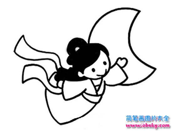 表情 幼儿嫦娥奔月简笔画图片 嫦娥 儿童简笔画图片大全 表情