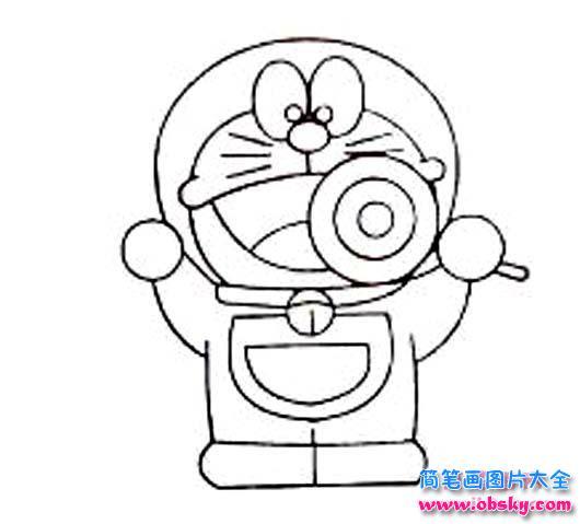 表情 儿童简笔画 吃棒棒糖的机器猫 机器猫 儿童简笔画图片大全 表情