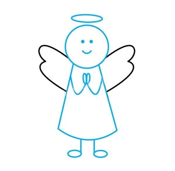 表情 可爱小天使简笔画的画法步骤教程 学画画 表情