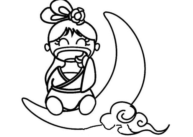 表情 中秋节简笔画 q版嫦娥图片 5068儿童网 表情
