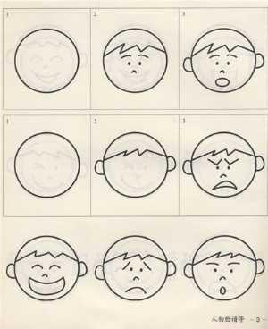 表情 害怕表情简笔画 3 卡通动漫简笔画 艺美术 表情
