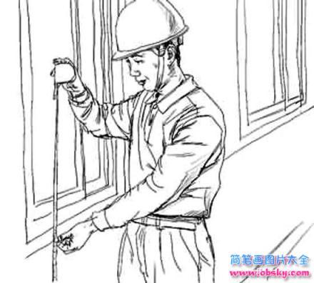 情 怎么画儿童五一劳动节 忙碌的工人简笔画的教程 五一劳动节简笔