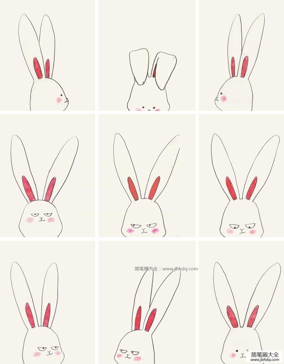 表情 兔子头像超萌 9款超萌的兔子头像表情简笔画 兔子简笔画 百人简笔画  表情