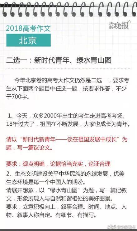 2018高考作文 北京 二选一:新时代青年、绿水青山图 今年北京卷的