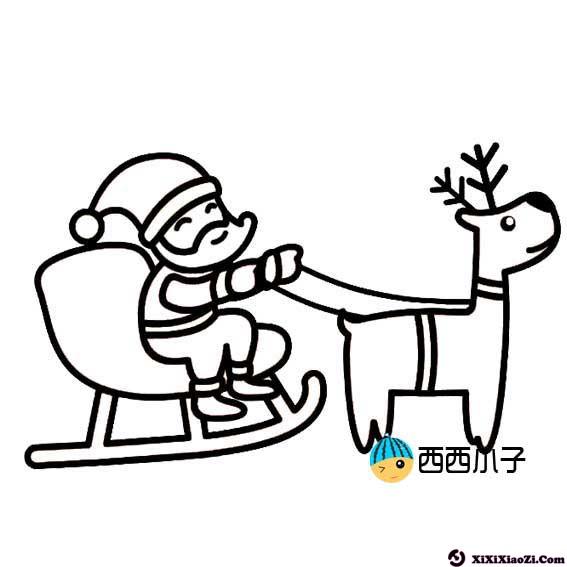 圣诞老人坐雪橇简笔画 格格 表情