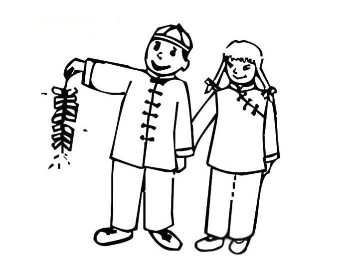 表情 新年娃娃简笔画 一起放鞭炮 人物简笔画 5068儿童网 表情