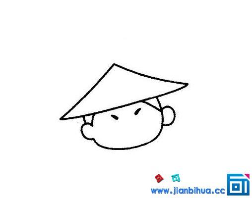 单的挑担子的人简笔画画法步骤 可可简笔画 表情
