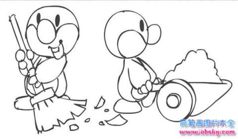 表情 怎么画五一劳动节卡通 小鸭子做劳动简笔画的教程 五一劳动节简笔画  表情
