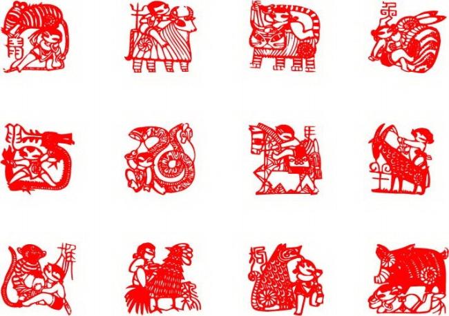 表情 春节十二生肖剪纸图片 表情