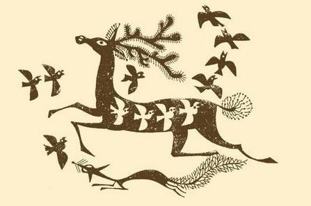 表情 卡通动物头像大型圆形线描装饰画 多种动物夸张手法彩铅手绘画