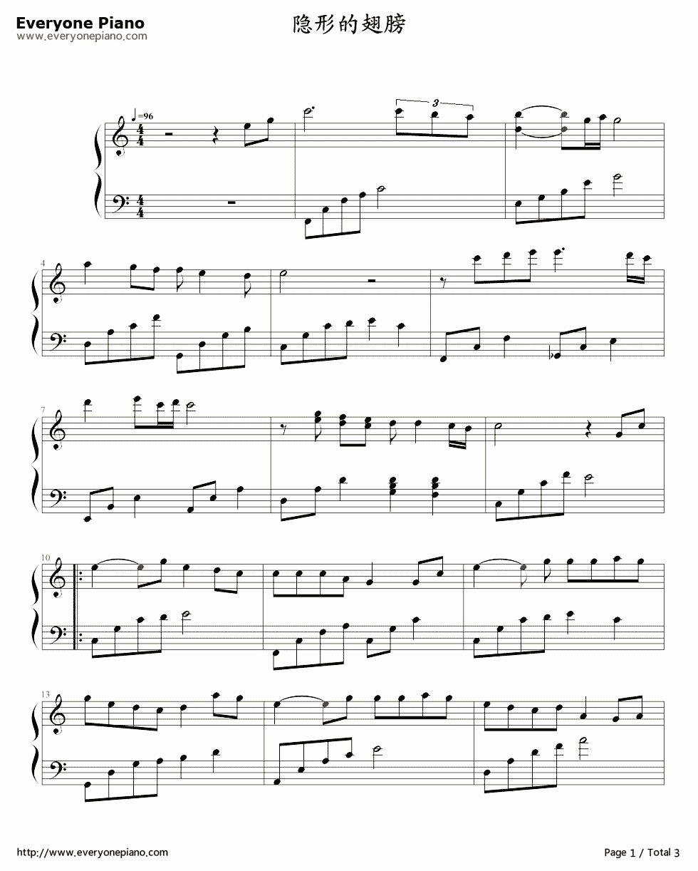 翅膀 长笛谱 最好为五线谱,简谱也可 注意是长笛,不是  表情