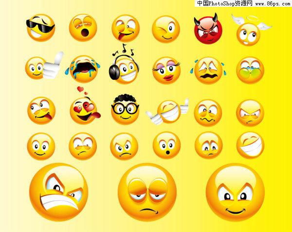 表情 EPS格式一组可爱搞怪表情图标矢量素材免费下载 中国PhotoShop资源网 PS  表情