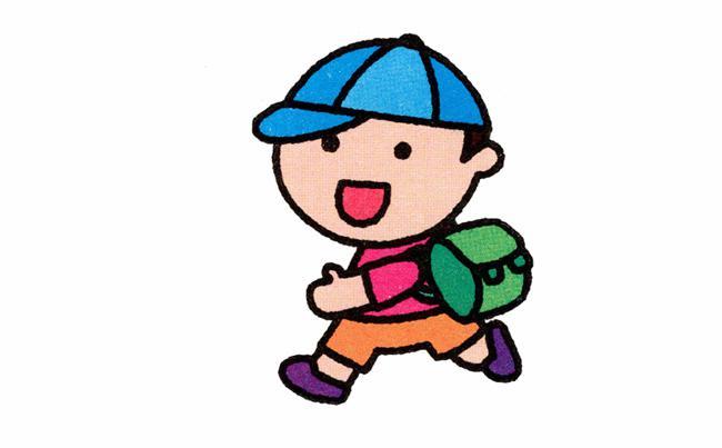 表情 小学生背书包的简笔画详细步骤,绘画图片,儿童文艺 绘艺素材网 表情