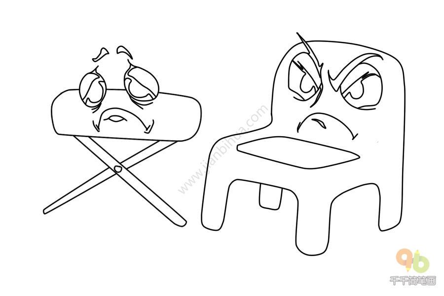 表情 表情包愤怒的椅子和委屈的板凳简笔画千千简笔画人人都能轻松画简笔画图片  表情