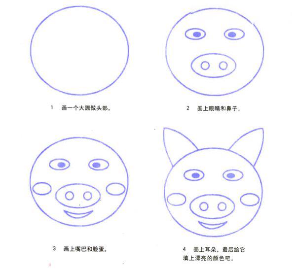 表情 卡通可爱猪头表情简笔画的画法图片教程 巧巧简笔画 表情