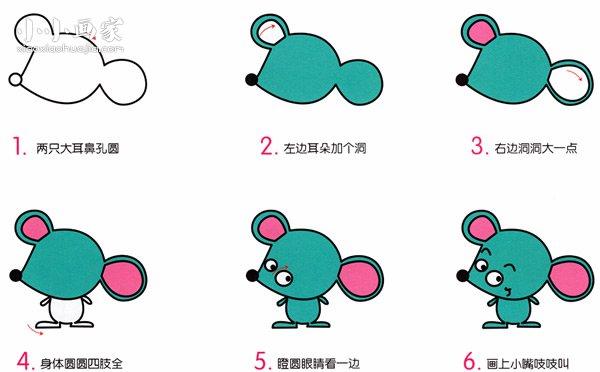 情 卡通小老鼠简笔画画法图片步骤 小小画家 表情