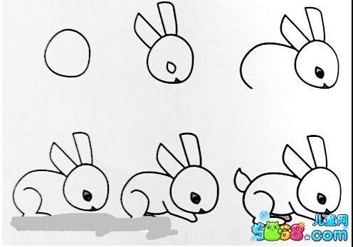 表情 爬行的小兔子简笔画图片 可爱的小兔子简笔画图片欣赏 5068儿童网 表情