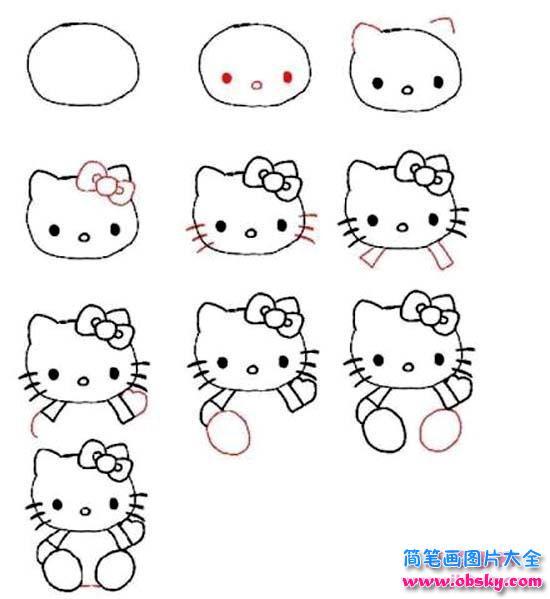 表情 hello kitty简笔画画法步骤 怎么画kitty猫 HelloKitty 儿童简笔画  表情