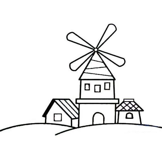 表情 带风车的房子建筑简笔画,绘画图片,儿童文艺 绘艺素材网 表情