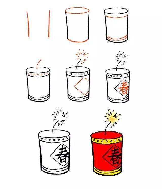 表情 新年简笔画,用灯笼 鞭炮 红包一起迎接春节吧 搜狐娱乐 搜狐网 表情