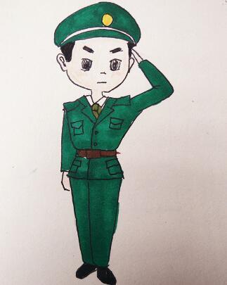 表情 军人侧面敬礼时怎么画 军人简笔画侧面敬礼 军人侧面敬礼简笔画 军人侧面  表情