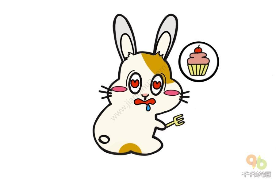 表情 兔兔贪吃表情包简笔画 简约型文化普通难度 表情包 千千简笔画移动版 表情