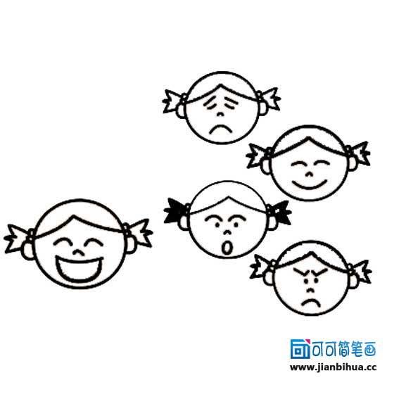 表情 喜怒哀乐人物面部表情简笔画 第1页 一起QQ网 表情