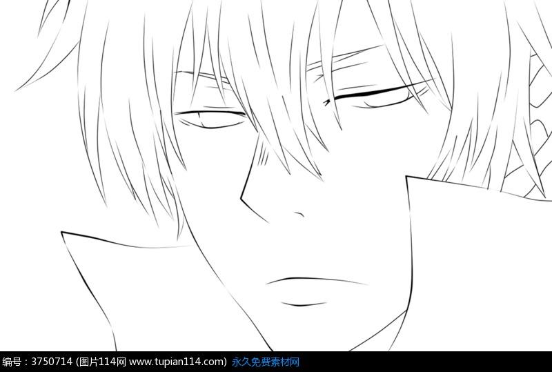 表情 无表情美男手绘线稿素材高清图片 卡通人物 图片114 表情