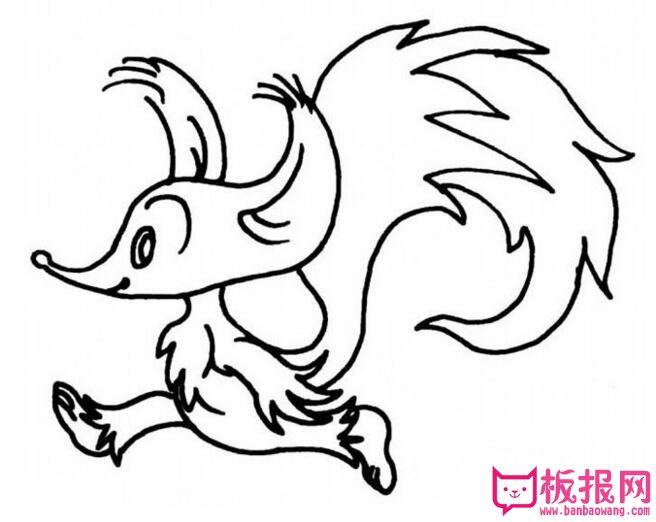 表情 简单的动物简笔画图片,聪明的小狐狸 板报网 表情