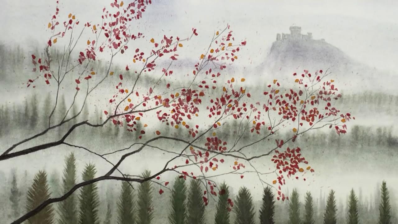 如何画一幅风景水彩画 小山 树木 还有城堡