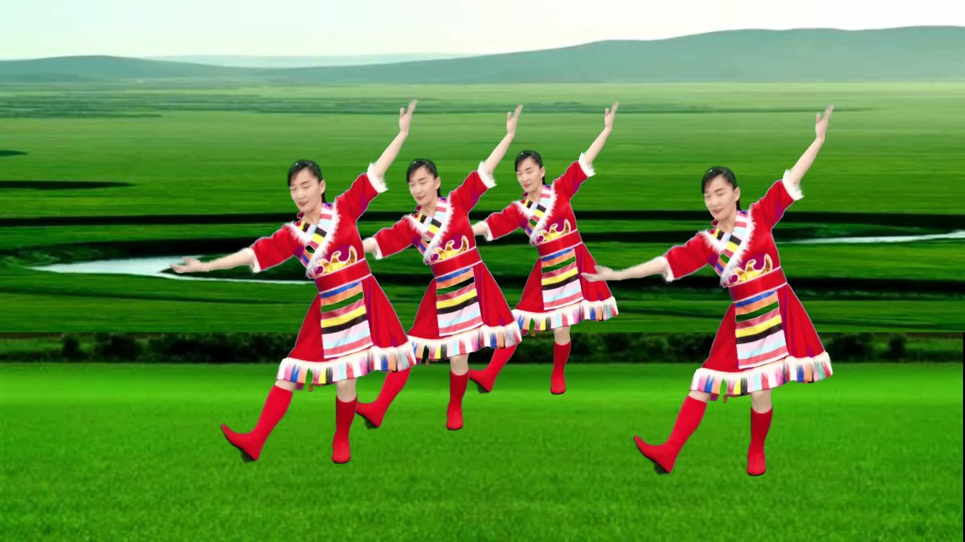 玫香广场舞《心中的歌儿献给金珠玛》正面演示