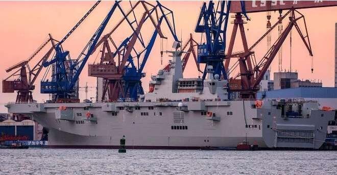 075首艦將服役,美同時緊盯075二號艦,最新照片展現強大造船實力