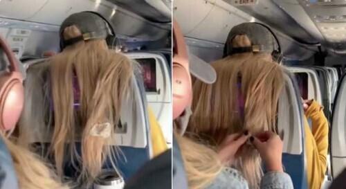 不滿電視屏幕被遮擋 女子將口香糖粘在前座乘客頭發上