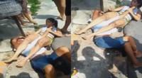 男子抢手机未遂反遭女子锁臂降服 直到警察来了才松开