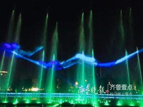 炫!泰山脚下梦幻般的喷泉