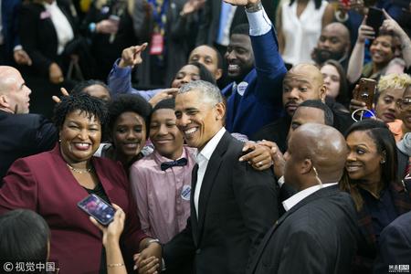 奥巴马现身为民主党拉票 人气爆棚