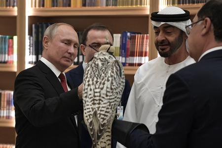 普京出访阿联酋 再送猎鹰礼物