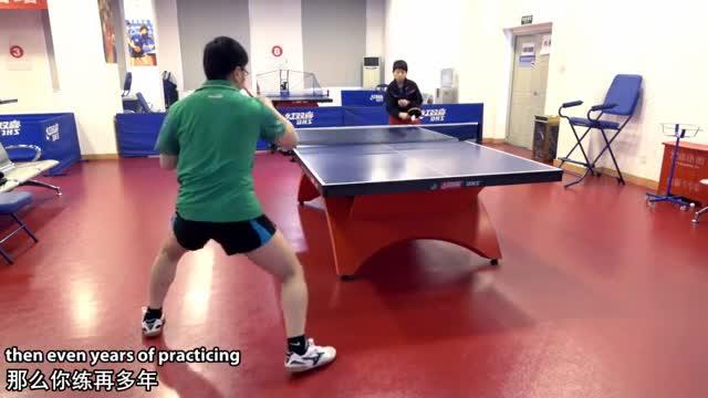 《乒乓球训练日记》第22集:横拍推挡侧身攻_教学视频(中英文)