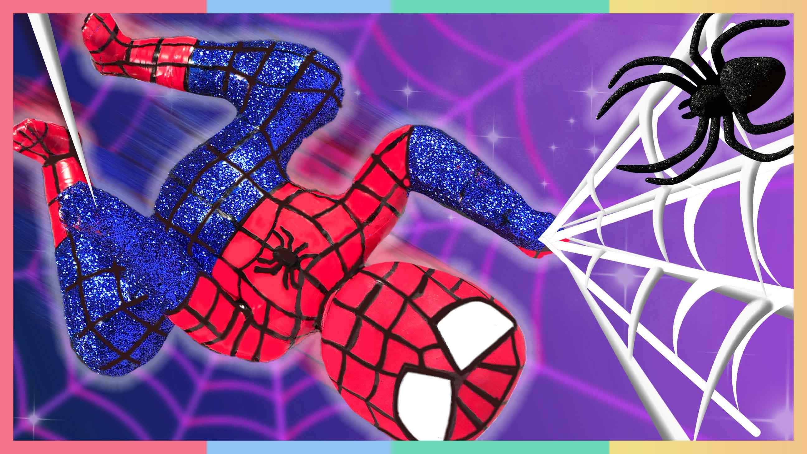 DIY闪闪亮亮蜘蛛侠!超级英雄小凯利出动   凯利和玩具朋友们 CarrieAndToys