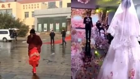 新婚当天新娘还考试 亲友团考场外接亲 众人赶去酒店婚礼如期进行