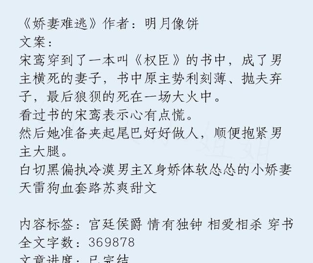 103h奇迹私服发布网第二波男主白切黑的小说来咯,《娇妻难逃》男主偏执系,好看!